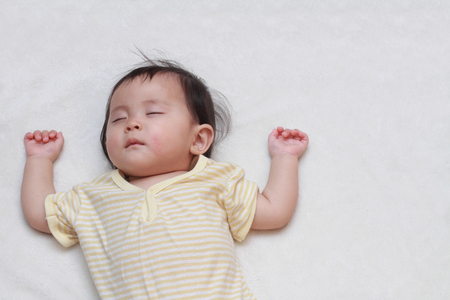 Sleeping Japanese baby girl (0 year old)