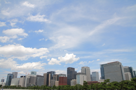 castle district: high rise buildings in Murunouchi, Tokyo, Japan Stock Photo