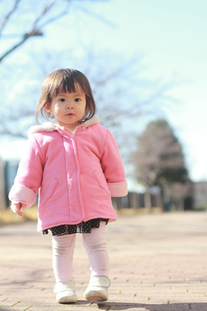 1: Japanese toddling girl (1 year old) Stock Photo
