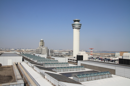 control tower: Airport control tower at tokyo international airport Editorial