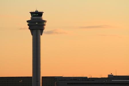 control tower: Airport control tower at tokyo international airport (at dawn)