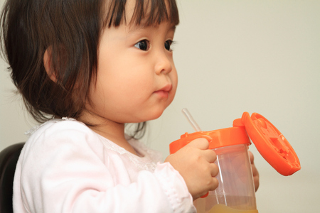 1 year old: Japanese baby girl drinking water (1 year old)