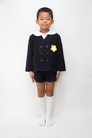 6 years: Japanese boy in school uniform (6 years old) Stock Photo