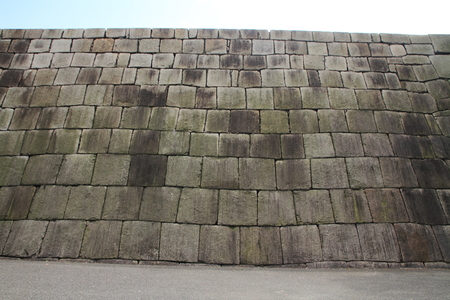 donjon: Stone foundation of the main tower of Edo castle in Tokyo, Japan