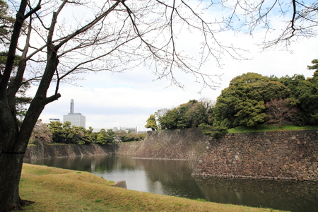 moat wall: Inui moat of Edo castle in Tokyo, Japan Editorial