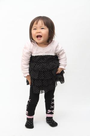 swaying: Smiling Japanese baby girl (1 year old)