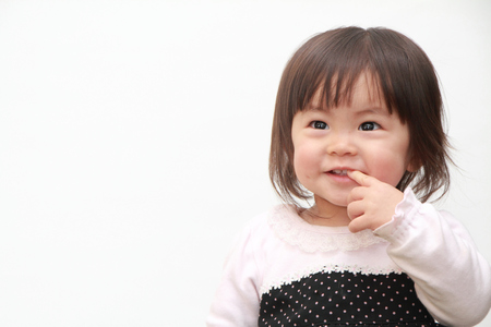 1: Smiling Japanese baby girl (1 year old)