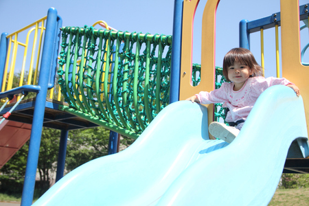play the old park: Japanese girl on the slide (1 year old)
