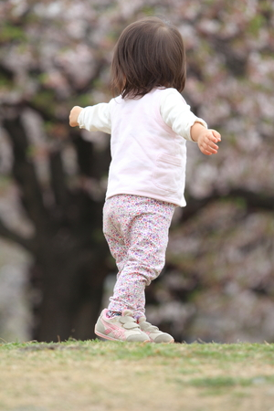 1 year old: Japanese girl walking on the grass (1 year old)