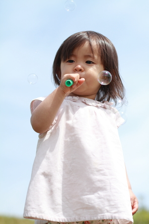 1 year old: Japanese girl playing with bubble (1 year old)