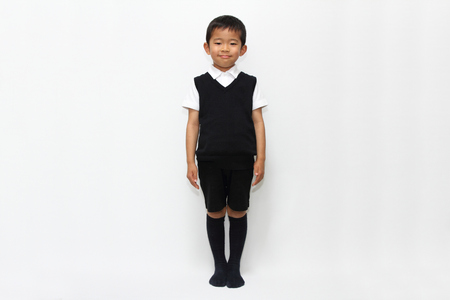 Japanese boy in the formal wear (5 years old) Stock Photo