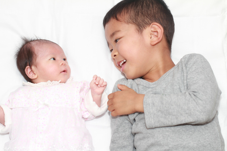 0 to 5: Japanese brother and sister (5 years old boy and 0 year old girl)