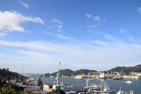 Nagasaki bay and Megami bridge in Nagasaki, Japan