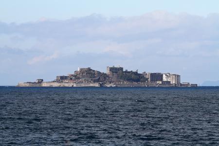 나가사키, 일본의 Gunkan jima (전함 섬) 스톡 콘텐츠