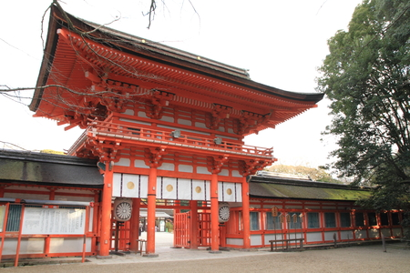 tower gate of Shimogamo shrine in Kyoto, Japan 免版税图像