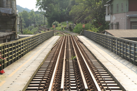 railroad bridge on Pingxi line in Pingxi, Taiwan