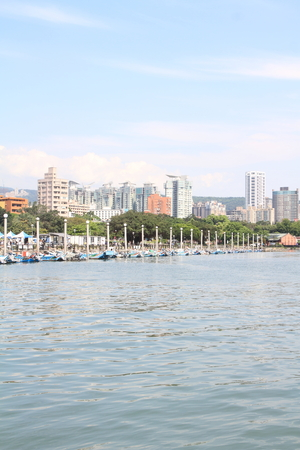Tamsui river and cityscape of Tamsui, Taipei, Taiwan