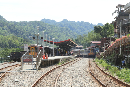 Shifen station and train on Pingxi line in Taiwan