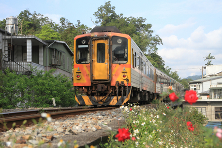 train on Pingxi line in Taiwan Stock Photo
