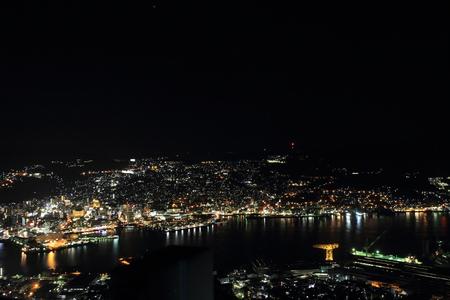 gloom: night view of Nagasaki, Japan from top of mount Inasa Stock Photo