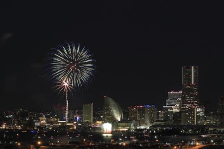 Fireworks in Yokohama port festival at Kanagawa, Japan Stock Photo