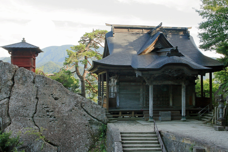 sutra repository and Kaisando of Risshaku ji (Yamadera) in Yamagata, Japan Stok Fotoğraf - 83801525