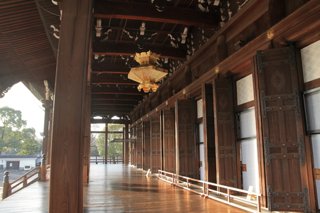 founders hall of Nishi Hongan temple, Kyoto, Japan 報道画像