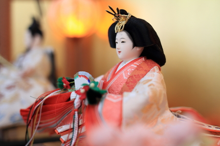 Hina doll (female doll) on Hina festival 免版税图像