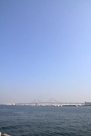 Yokohama bay bridge in Kanagawa, Japan (view from Yamashita park) Stock Photo
