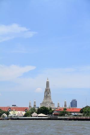 Chao Phraya river and Wat Arun in Bangkok, Thailand