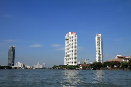 high rise building and Chao Phraya river, Bangkok, Thailand 写真素材