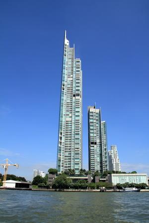 high rise building and Chao Phraya river, Bangkok, Thailand 報道画像