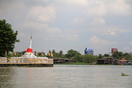 Chao phraya river and chedi Mutao in Koh Kret, Bangkok, Thailand
