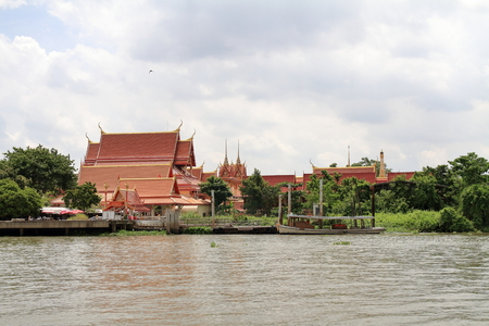 Wat Sanam Nuea and Chao phraya river, view from Koh Kret in Bangkok, Thailand 写真素材