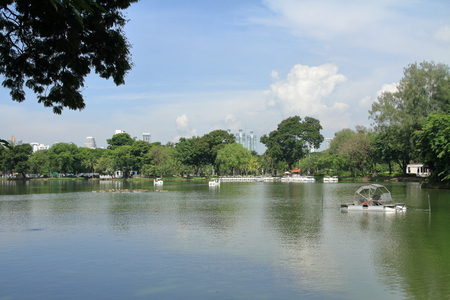 pond in Lunpini park and skyscrapers of Bangkok, Thailand