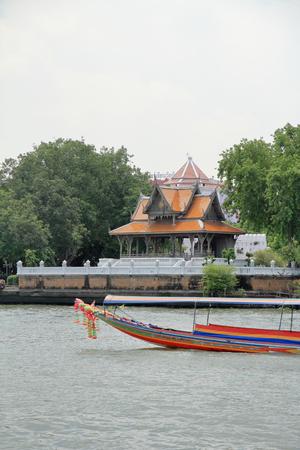 Chao Phraya river and speed boat in Bangkok, Thailand