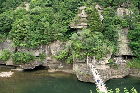gorge and suspension bridge in Aizu, Fukushima, Japan