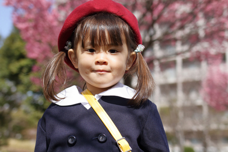 Japanese girl in kindergarten uniform (3 years old) 写真素材