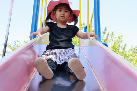 Japanese girl on the slide (3 years old)