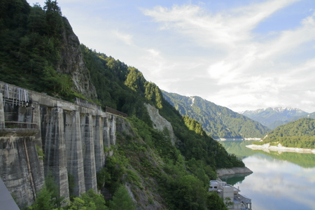 cablecrane basis of Kurobe dam in Toyama, Japan
