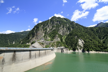 Kurobe dam and Kurobe lake in Toyama, Japan 写真素材