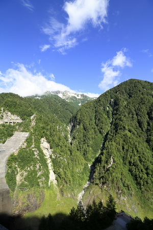 Tateyama mountain range, view from Kurobe dam in Toyama, Japan
