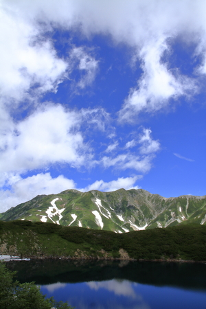 Mikurigaike pond and Tateyama mountain range with snow in summer in Toyama, Japan Standard-Bild - 107103846