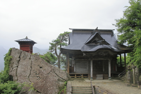 sutra repository and Kaisando of Risshaku ji (Yamadera) in Yamagata, Japan