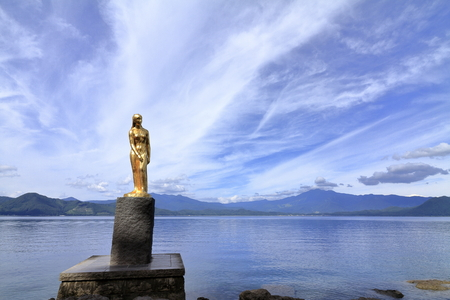 Tatsuko statue at Tazawa lake, Senboku, Akita, Japan 報道画像