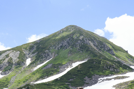 Tateyama mountain range with snow in summer in Toyama, Japan Standard-Bild - 107102656