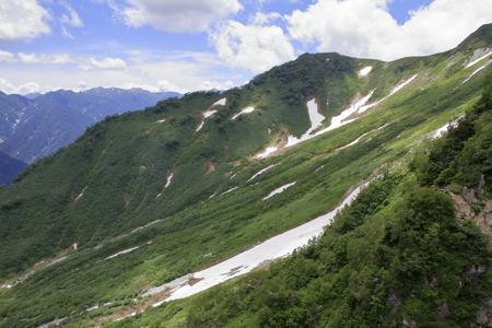 Tateyama mountain range with snow in summer in Toyama, Japan Standard-Bild - 107102563