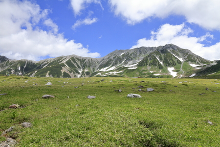 Tateyama mountain range with snow in summer in Toyama, Japan Standard-Bild - 107102570