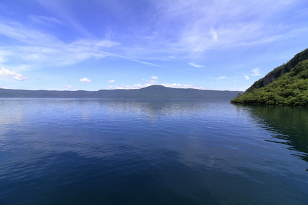 Todawa lake and Mt. Ohanabe in Aomori, Japan 写真素材