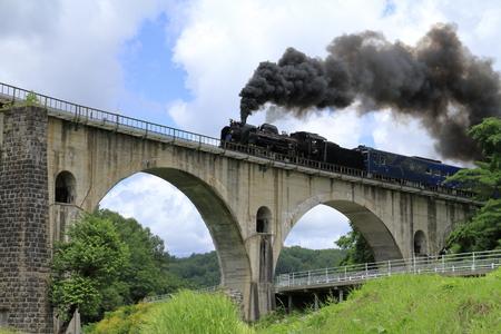 Ponte Miyamori e locomotiva a vapore a Tono, Iwate, Giappone